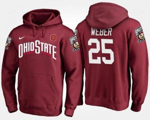 Name and Number Men Mike Weber Ohio State Buckeyes Hoodie #25 Scarlet