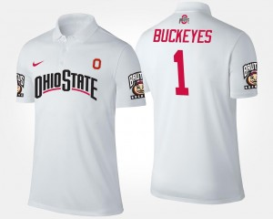 Men's White Name and Number No.1 Short Sleeve Ohio State Polo #1