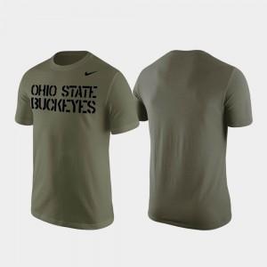 Ohio State Buckeyes T-Shirt Stencil Wordmark Men's Olive