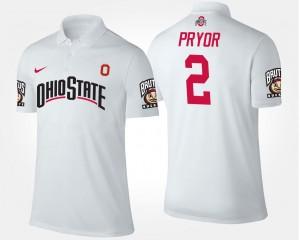 Terrelle Pryor OSU Buckeyes Polo Name and Number #2 White For Men