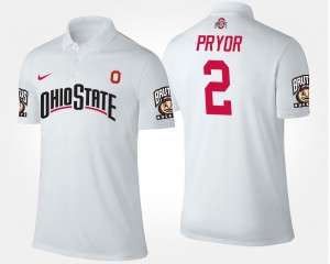 White For Men's Name and Number Terrelle Pryor Ohio State Polo #2
