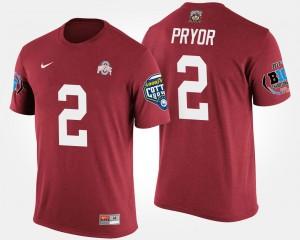 #2 Scarlet Terrelle Pryor Ohio State T-Shirt Bowl Game Big Ten Conference Cotton Bowl Men's