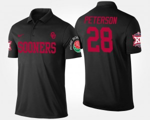 Adrian Peterson Oklahoma Sooners Polo #28 Big 12 Conference Rose Bowl Name and Number For Men Bowl Game Black