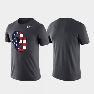 Americana Legend Oklahoma Sooners T-Shirt Mens Performance Anthracite
