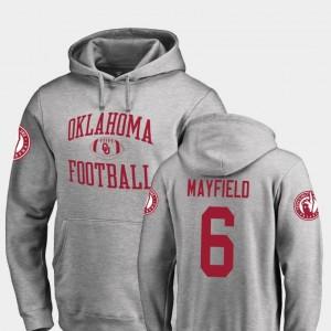 Baker Mayfield Sooners Hoodie #6 Ash Neutral Zone Men's Fanatics Branded College Football