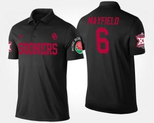 Baker Mayfield Sooners Polo Bowl Game Men Black #6 Big 12 Conference Rose Bowl Name and Number