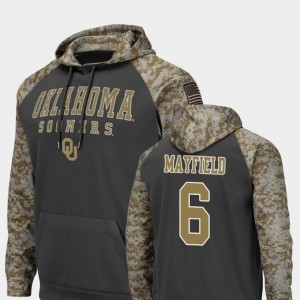 United We Stand For Men #6 Colosseum Football Charcoal Baker Mayfield Oklahoma Hoodie