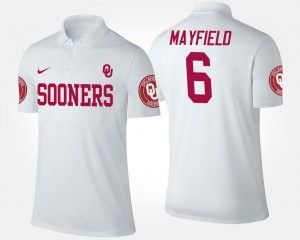 #6 White Baker Mayfield OU Polo For Men Name and Number