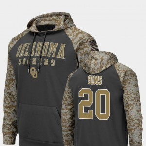 Colosseum Football Billy Sims Oklahoma Sooners Hoodie United We Stand For Men Charcoal #20