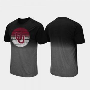 OU Sooners T-Shirt Dip Dye Black Fancy Walking Mens