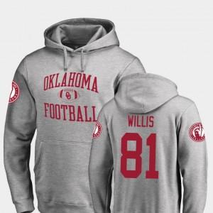 Fanatics Branded College Football #81 Neutral Zone Ash For Men's Brayden Willis OU Hoodie