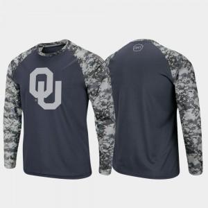 Charcoal Camo OHT Military Appreciation Raglan Long Sleeve Digi Camo Sooners T-Shirt Mens