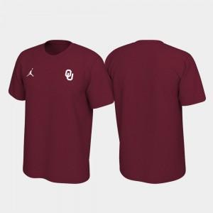 OU Sooners T-Shirt Men Left Chest Logo Crimson Legend