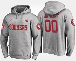 Gray Name and Number #00 For Men Oklahoma Sooners Custom Hoodie