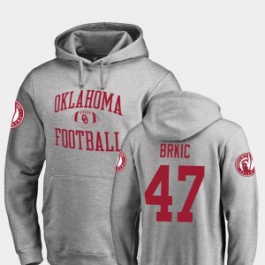 #47 Neutral Zone Gabe Brkic Sooners Hoodie Ash Fanatics Branded College Football For Men's