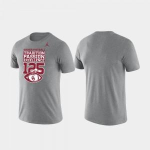 Heather Gray Men Sooners T-Shirt 125th Football Season Jordan Brand Tradition Dri Fit