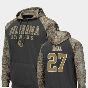 United We Stand Colosseum Football Men Charcoal Jeremiah Hall OU Hoodie #27