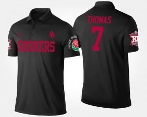 Black Big 12 Conference Rose Bowl Name and Number Bowl Game Jordan Thomas Sooners Polo #7 For Men