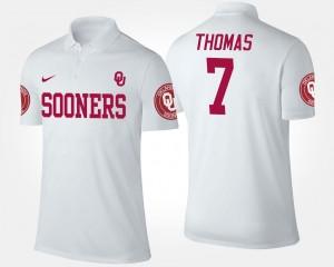 #7 Jordan Thomas OU Polo White Men's Name and Number