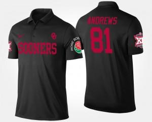 #81 Big 12 Conference Rose Bowl Name and Number Men Black Bowl Game Mark Andrews OU Sooners Polo