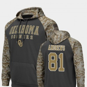 Colosseum Football Charcoal For Men's Mark Andrews OU Sooners Hoodie #81 United We Stand