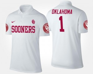 Mens #1 Sooners Polo White No.1 Short Sleeve Name and Number