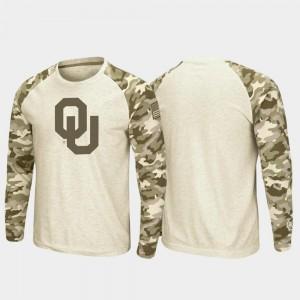 Oklahoma Sooners T-Shirt OHT Military Appreciation Oatmeal Men Raglan Long Sleeve Desert Camo