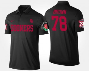 Orlando Brown Sooners Polo Big 12 Conference Rose Bowl Name and Number Men's Bowl Game #78 Black