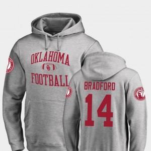 For Men Ash #14 Sam Bradford OU Hoodie Neutral Zone Fanatics Branded College Football