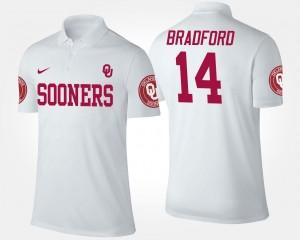 Name and Number White For Men's #14 Sam Bradford Sooners Polo