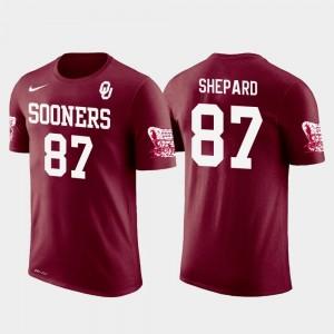 For Men's New York Giants Football Crimson #87 Sterling Shepard Oklahoma Sooners T-Shirt Future Stars