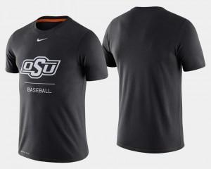 Mens College Baseball Dugout Performance Black Oklahoma State University T-Shirt