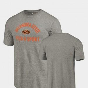OSU Cowboys T-Shirt Gray For Men's Tri Blend Distressed Pick-A-Sport