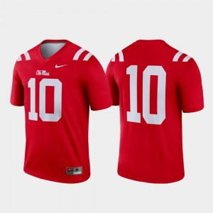 Men's College Football Nike Legend Red Ole Miss Jersey #10