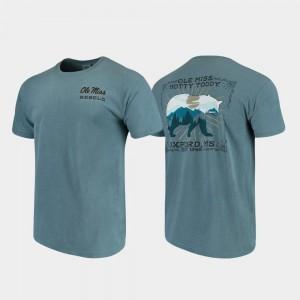 Comfort Colors State Scenery University of Mississippi T-Shirt For Men Blue