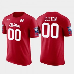 Ole Miss Rebels Customized T-Shirts Red #00 Future Stars Mens Cotton Football