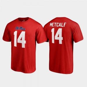 #14 College Legends Red Fanatics Branded Name & Number For Men's DK Metcalf Rebels T-Shirt