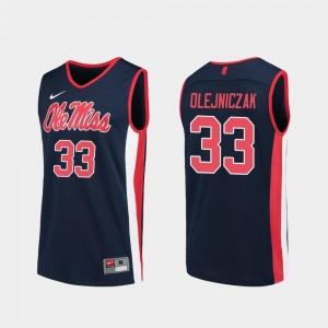 Navy #33 Dominik Olejniczak Rebels Jersey Replica Men College Basketball