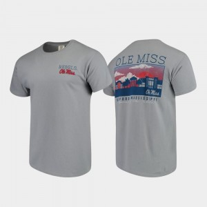 For Men Gray Campus Scenery Ole Miss Rebels T-Shirt Comfort Colors