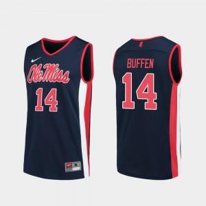 Men's Replica Navy KJ Buffen University of Mississippi Jersey #14 College Basketball