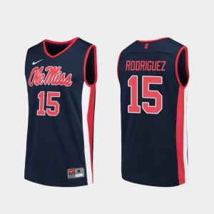 Luis Rodriguez Rebels Jersey #15 Replica Navy College Basketball For Men