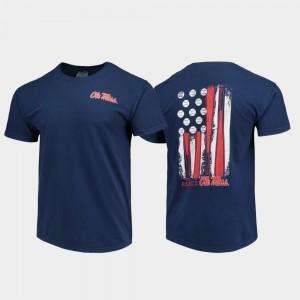 Baseball Flag Ole Miss T-Shirt Comfort Colors Navy Men