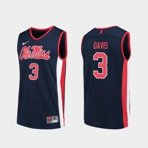 Navy College Basketball Replica Men's Terence Davis University of Mississippi Jersey #3