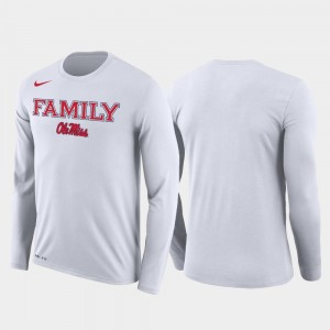 March Madness Basketball Performance Long Sleeve University of Mississippi T-Shirt White Mens Family on Court