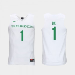 For Men's #1 Authentic Performace Bol Bol University of Oregon Jersey Elite Authentic Performance College Basketball White