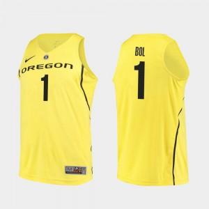 Authentic #1 Men's Yellow Bol Bol University of Oregon Jersey College Basketball