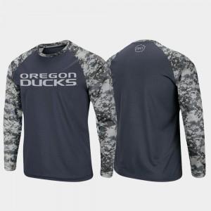Charcoal Camo Men Raglan Long Sleeve OHT Military Appreciation Ducks T-Shirt