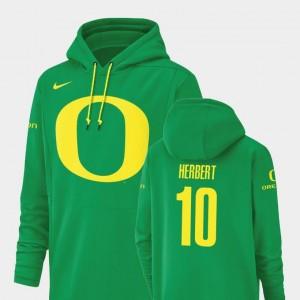 Men's Green #10 Justin Herbert University of Oregon Hoodie Nike Football Performance Champ Drive