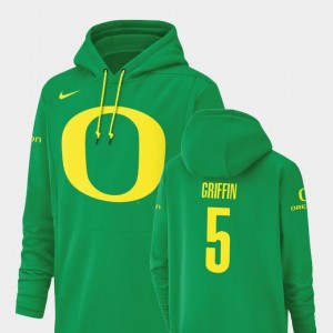 Taj Griffin Ducks Hoodie #5 Nike Football Performance Mens Green Champ Drive