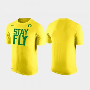 Yellow Mens Oregon Ducks T-Shirt Nike Stay Fly Local Shooting